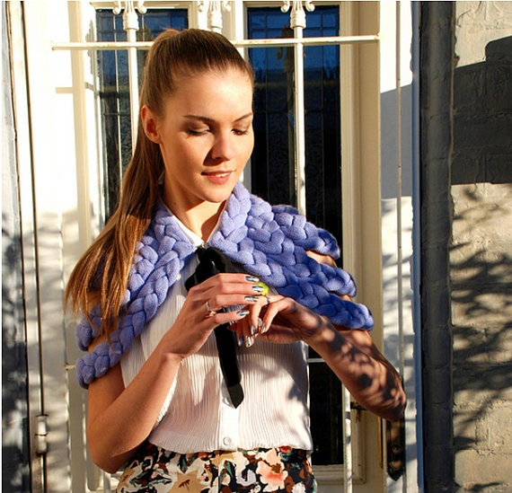 Celapiu Braided Shrug in Lavender styled and modelled by Dasha Gold of TheTrendSpotter.Net   Photos by Colin Gold.