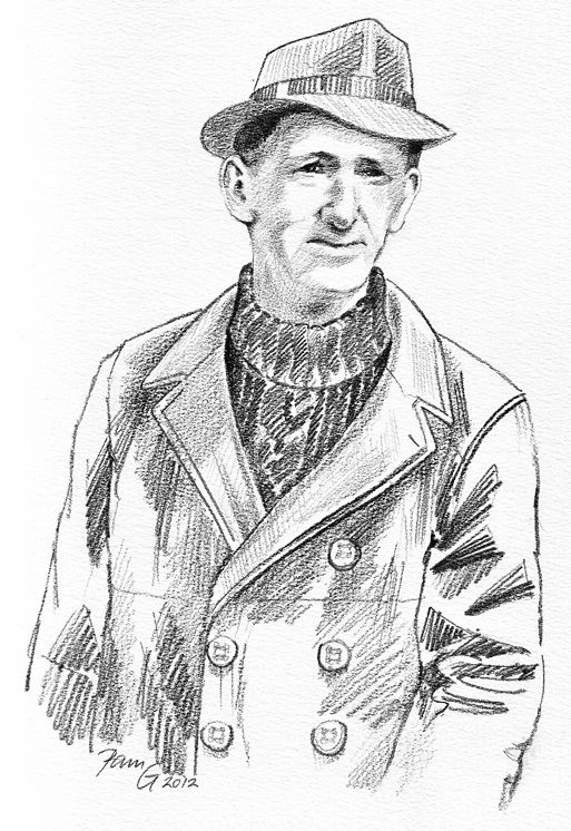 Jo Poland: for a book about Maryport sea captains. The likeness was from a photo, but he needed to be wearing his trademark hat and coat, soft pencil