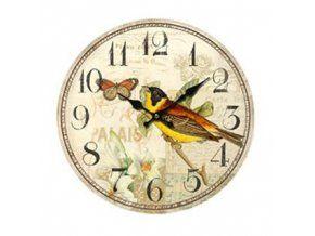 Nástěnné hodiny se žlutým ptáčkem