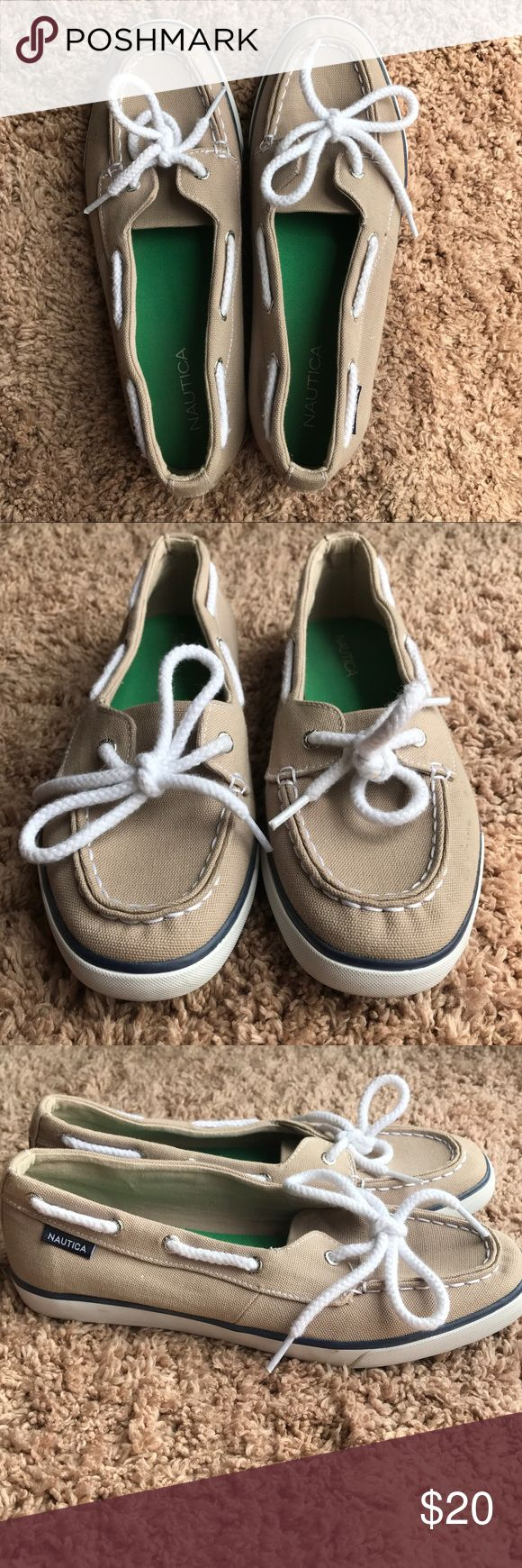 Women's Nautica Boat Shoes Women's Tan Nautica Boat Shoes. Shoes are a size 8 and have only been worn once! They are in great condition. Perfect for summertime. Looks great with a nautical look or just to dress up a casual outfit! Open to offers! 🌊 Nautica Shoes Sandals