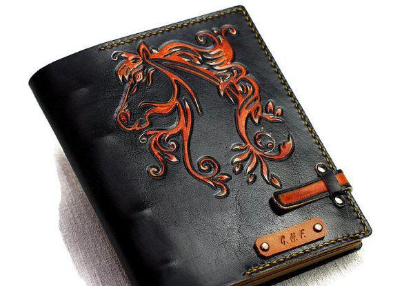 Journal en cuir de cheval cadeau Journal cahier journal par TiVergy