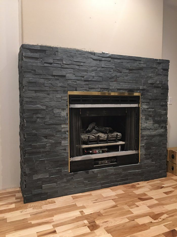 Stacked Stone Fireplace Makeover For The Home Stone