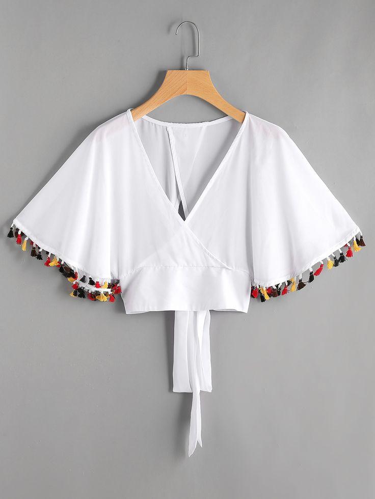 Shop Warp V Neckline Fringe Trim Tie Back Top online. SheIn offers Warp V Neckli…