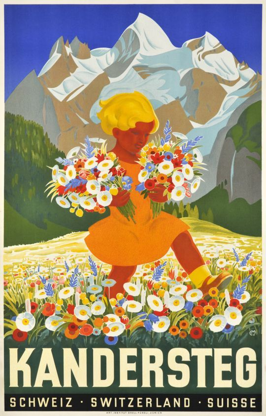Kandersteg, Switzerland vintage travel poster