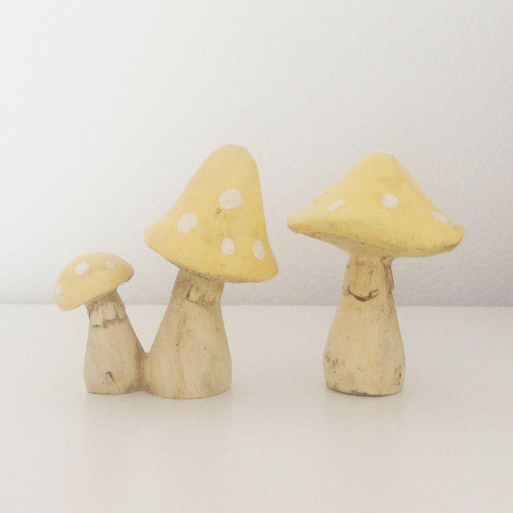 Yellow little mushroom / toadstool ornament set | room to decorate | scandinavian and vintage designed homewares - online shop