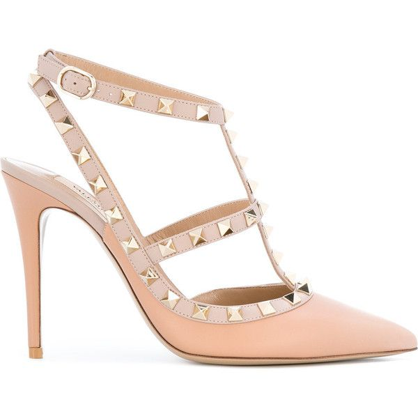 Valentino Garavani Rockstud pumps (13.332.995 IDR) ❤ liked on Polyvore featuring shoes, pumps, pink, pink ankle strap pumps, valentino shoes, valentino pumps, pink pumps and pointy-toe pumps