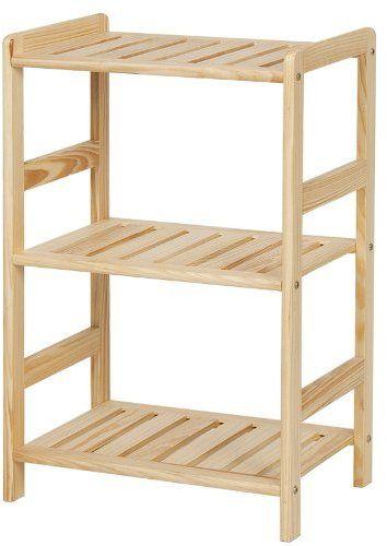 FURINNO FNCJ-33011 Solid Wood 3-Tier Shelf