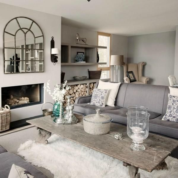 Grey Living Room With Natural Wood And Fluffy Cozy Rug (on Top Of Another  Rug · Decor ...