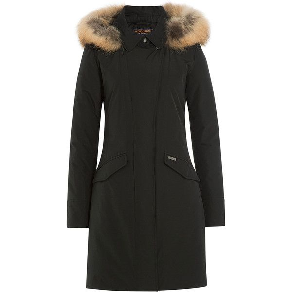 Woolrich Down Parka ($600) ❤ liked on Polyvore featuring outerwear, coats, black, parka coat, woolrich, slim coat, slim fit coat and woolrich coats