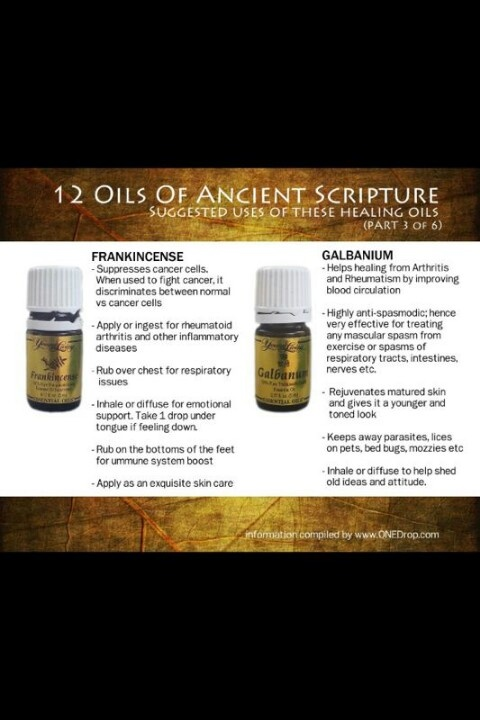 Frankincense & Galbanium Anybody interested in purchasing the oils or products or learning more about Young Living can email me at siegel_m@bellsouth.net. I would be more than happy to help! Main website www.youngliving.com Or check out the products and order at https://www.youngliving.com/signup/?site=US=1483454=1483454