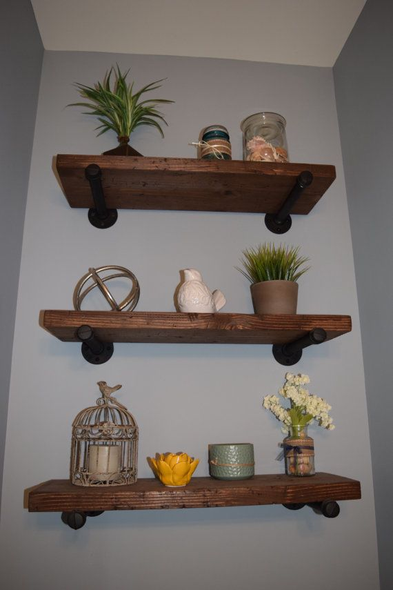 Industrial Wooden Iron Shelf, Rustic Floating Shelf, Wooden Pipe Shelf, Rustic…