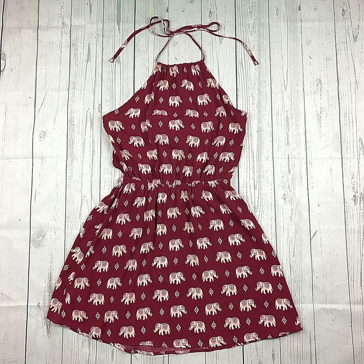 Forever 21 womens S red ivory elephant animal print open back tie halter dress #FOREVER21 #Casual