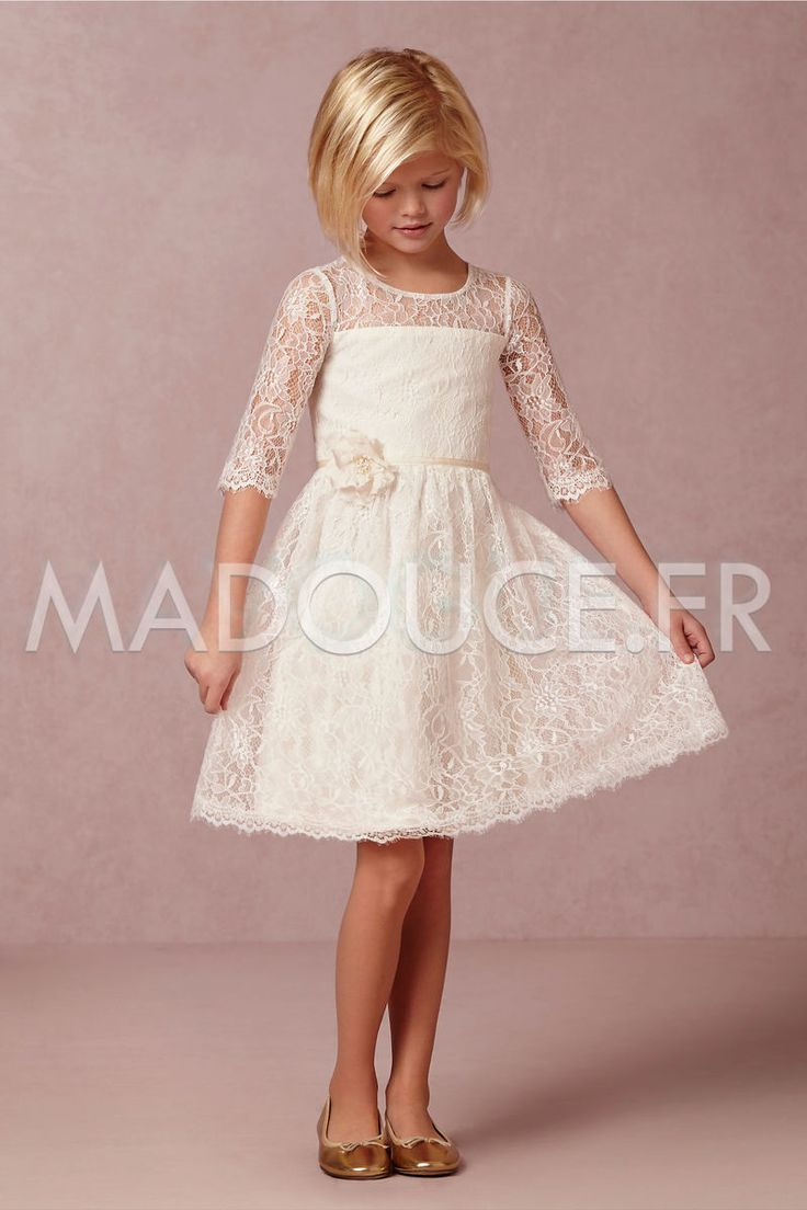 Robe de cortège enfant fille courte en dentelle à manches mi-longues avec fleur