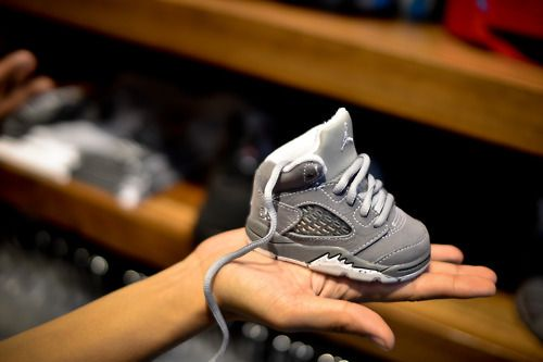 Kase's Aunt Kristin just got him his first pair of Jordan's last night! They are super cute!
