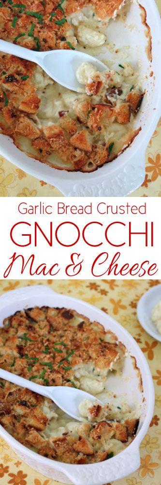 Garlic Bread Crusted Gnocchi Mac and Cheese