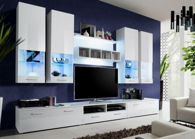 ensemble meuble tv blanc led integre