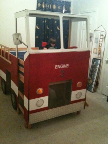 Marku0027s New Bed! Fashioned Around An Ikea Loft Bed With Slide. Firefighter  BedroomNew ...