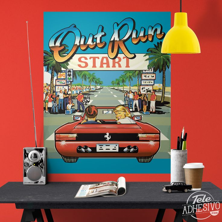 Vinilos Decorativos: Póster adhesivo Out Run Arcade #poster #pared #vinilo #videojuego #outrun #carreras #videogame #TeleAdhesivo