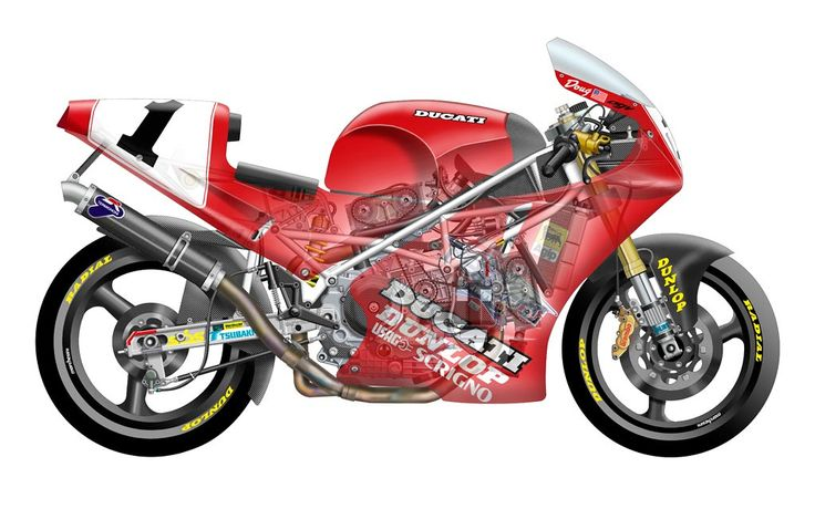 Ducati (and more) Superbike Cutaway Illustrations