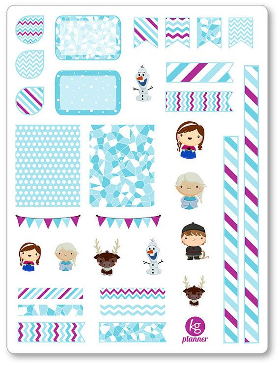 Frozen Friends Decorating Kit / Weekly Spread Planner Stickers for Erin Condren…