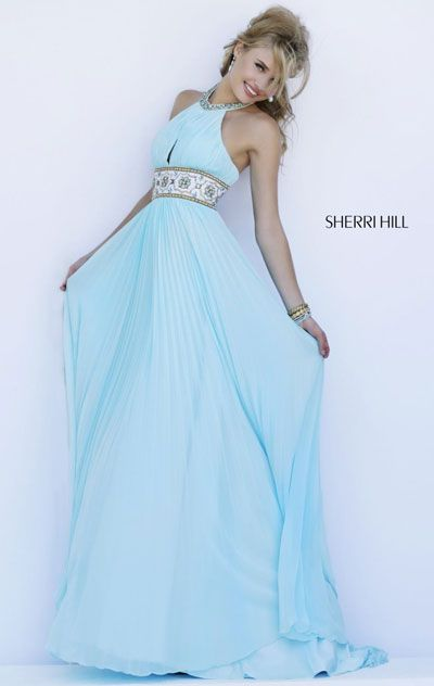 2015 Beaded Light Blue Pleated Halter-Neck Long Prom Dress