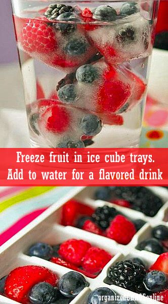 TIP OF THE DAY: Freeze fruit in icecube trays and use them to flavor water | organizedCHAOSonline #tips #lifehacks #goodideas