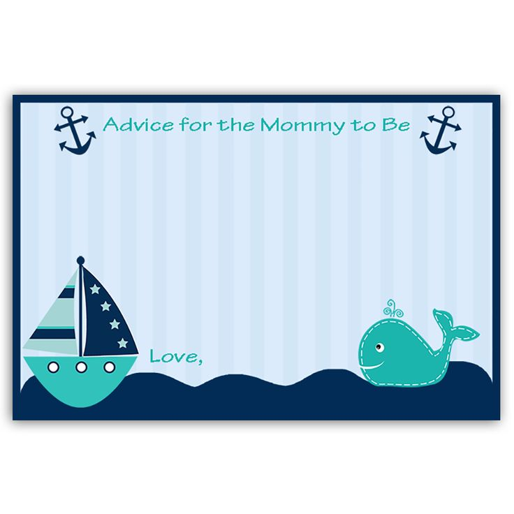 Have guests offer new mommy advice at your boy baby shower with this fun and classic blue striped nautical themed advice card featuring a teal sailboat, whale, and navy blue anchors. Card measures 4 x