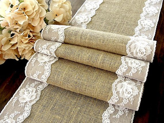 Burlap Table Runner With Dusty Hay Country Lace Table Runner Wedding Linens Rustic Wedding