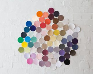 Colourful swatches arranged in a colour wheel