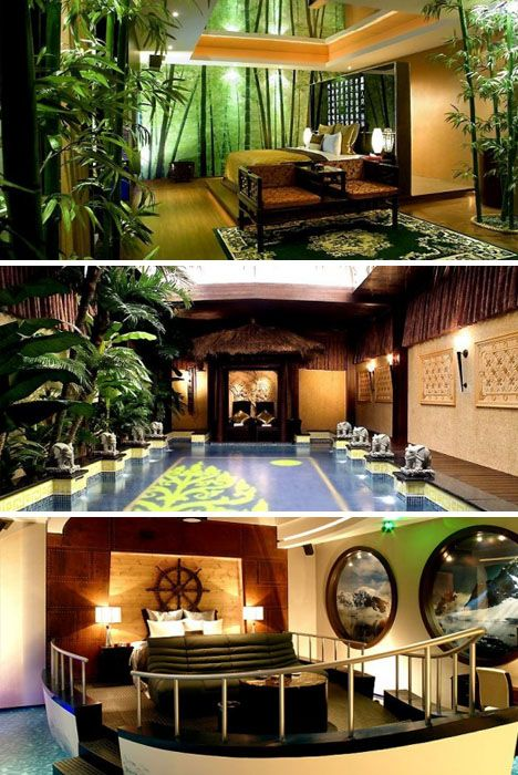 Bedroom design exotic themed. I like the top one. :)