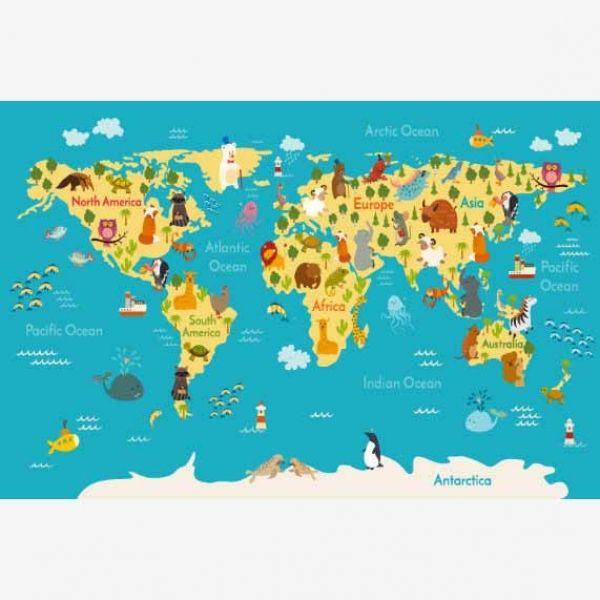 Weltkarte Kontinente & Meere