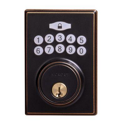 single cylinder keyless electronic deadbolt finish aged bronze