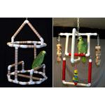 PVC Hanging Play Stands for Birds by Parrot Treasures