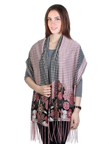 """Pink Lurex Flower Houndstooth Mesh Scarf With Fringe Edges 60' X 19""""  NWT #NorthSouth #Scarf"""