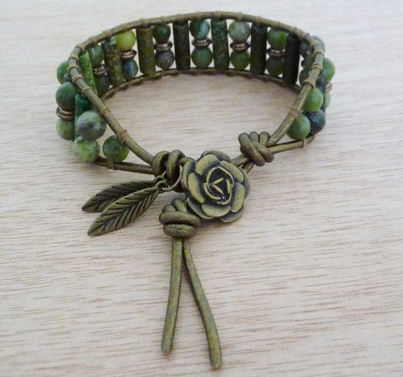 Natural Stone Wrap Bracelet in Shades of Green by MizMarLodesigns, $20.00