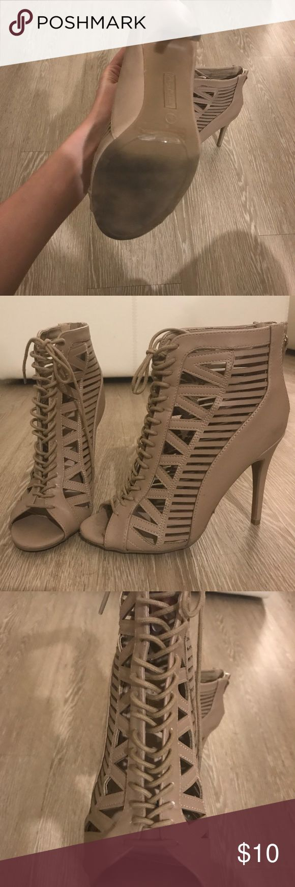 Anne Michelle Tan Lace Up Heels Only worn a few times! Very cute with skinny jeans or a summer dress. Anne Michelle Shoes Heels