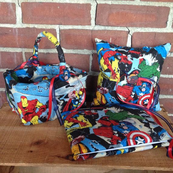 Avengers super hero wedding pillow, basket and guest book  Superhero on Etsy, $70.00
