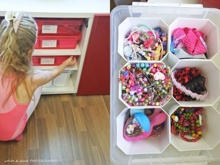 SmartStore storage boxes with inserts in the kids room