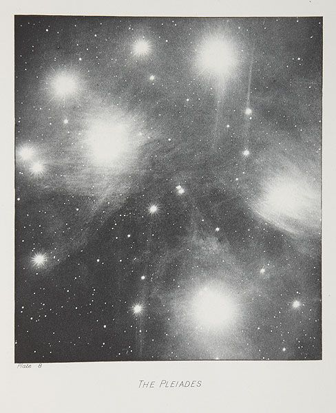 The Pleiades, Keeler, James Edward, b.1857 - 1900. Photographs of Nebulae and Clusters, made with the Crossley Reflector, 1900, 13.5 x 15 cm, Photogravure.