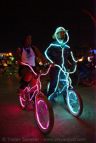 bicycles with EL-wire - burning man 2007, art, costumes, el-wire costumes, electroluminescent wire, night, people