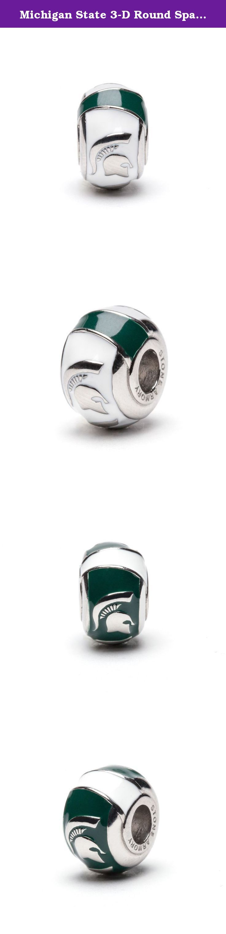 Michigan State 3-D Round Spartan Bead Charms - Set of 2 - Green & White - Fits Pandora & Others. These two Michigan State bead charms fits Pandora style bracelets and necklaces. It is handcrafted with care. Green with white stripes and 8 spartan heads. Share with a friend or keep them all for yourself! Get creative designing your very own, unique Michigan State jewelry pieces! Makes the perfect graduation or Christmas gift.