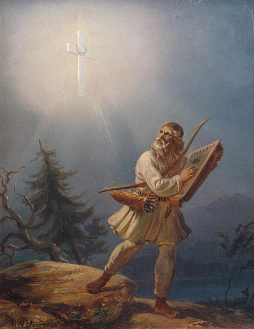 Robert Wilhelm Ekman: Pakeneva pakanuus; Väinämöinen väistyy ristin mahtia; Ensimmäinen fennomaani, 1860. öljy pahville, 30x23,5 cm. Cygnaeuksen galleria.