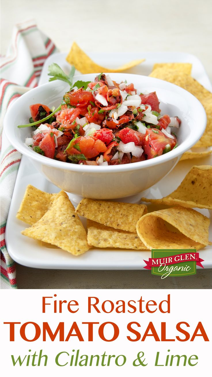 This Fire Roasted Tomato Salsa with cilantro and lime is loaded with vibrant flavor. Perfect served with chips, tacos or eggs, or heaped on grilled meats, soups or baked sweet potatoes – it's ready in less than 15 minutes! Muir Glen Organic fire roasted tomatoes are grilled over an open flame to bring out their natural sweetness and add a subtle smokiness to this salsa.