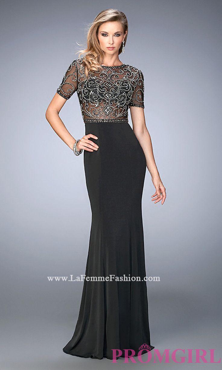 Short Sleeve Long Illusion Bodice Open Back Gigi Prom Dress Style: LF-22647