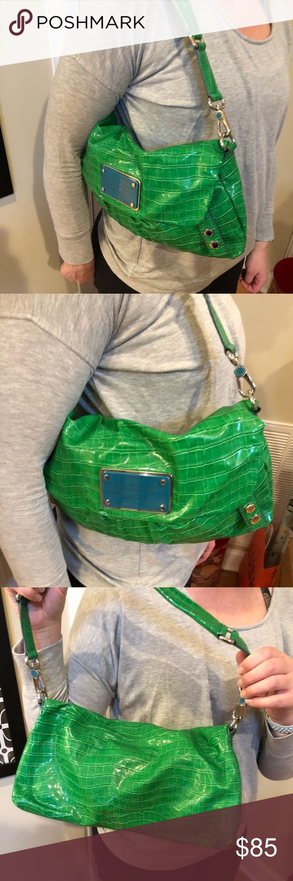 Marc by Marc Jacobs Green Shoulder Bag Purchased at Neiman Marcus several years ago. authentic Marc Jacobs bag, a bright Kelly green with blue accents. Adjustable strap, vinyl material, crocodile print. Marc By Marc Jacobs Bags Shoulder Bags