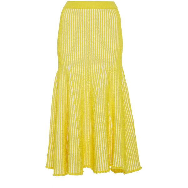 PH5 Sally Stitched Flare Skirt (2,225 CNY) ❤ liked on Polyvore featuring skirts, yellow, yellow skater skirt, high-waist skirt, yellow skirt, high rise skirts and yellow high waisted skirt
