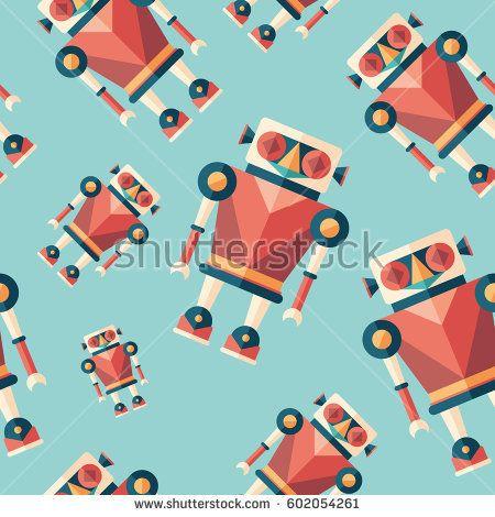 Robot illusionist flat icon seamless pattern. #robots #robotics #vectorpattern #patterndesign #seamlesspattern