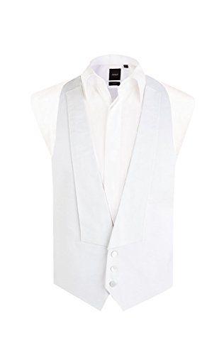 Dobell Mens Formalwear Smart Regular Fit White Tie Marcella Waistcoat Straight 52R