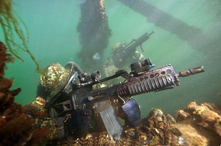 German Kampfschwimmer Marine special forces prepare to breach the surface near Eckernförde