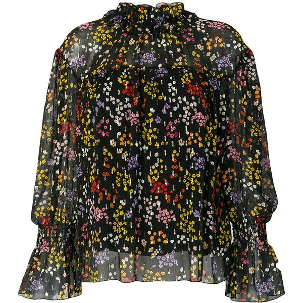 See By Chloé floral high neck blouse (€340) ❤ liked on Polyvore featuring tops, blouses, black, ruffle top, frilly blouse, bohemian blouses, metallic blouse and fitted blouse
